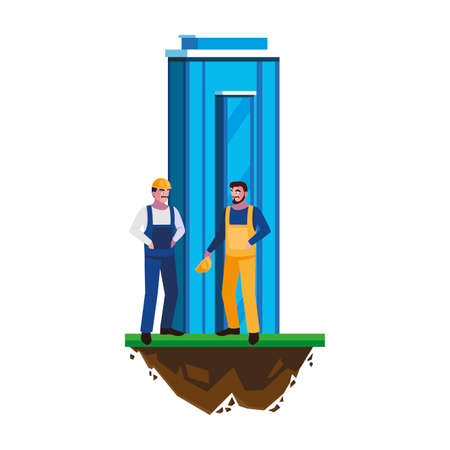 male builders constructors workers with building vector illustration design Banque d'images - 140630697
