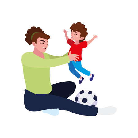 mother playing soccer with son characters vector illustration design Stock Illustratie