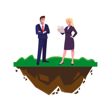 elegant business couple on the lawn vector illustration design