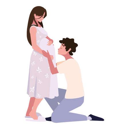 Pregnant woman and man design, Couple family love pregnancy maternity and expecting theme Vector illustration Vektoros illusztráció