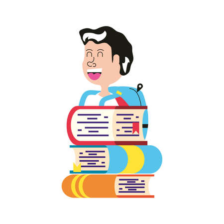 cute little student boy with bag school and stack books vector illustration design Illustration