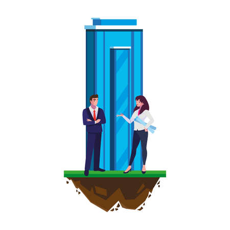 elegant business couple with building scene vector illustration design Stok Fotoğraf - 140631767