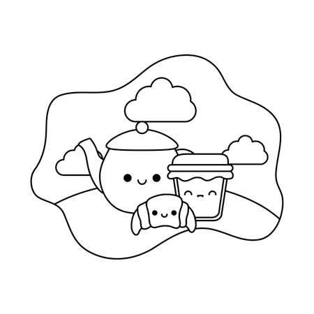 teapot with set food in landscape kawaii style vector illustration design Ilustracja