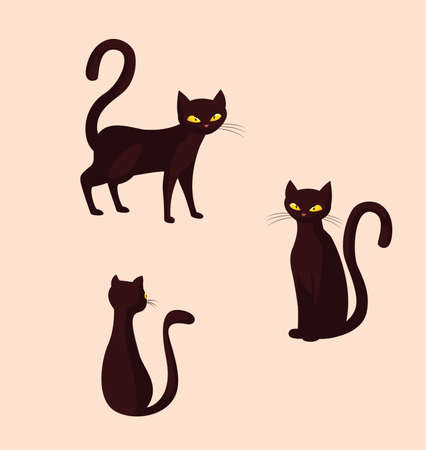 cats feline animals of halloween vector illustration design