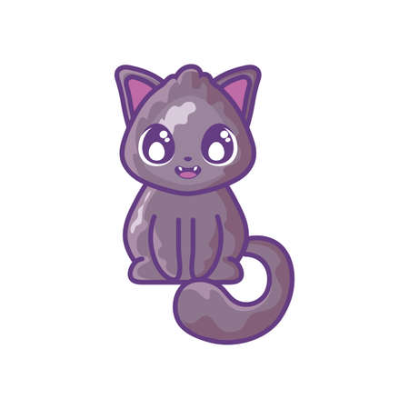 cute cat on white background vector illustration design Иллюстрация