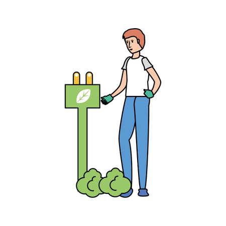 Avatar man design, Sustainability eco friendly green recycle ecology renewable and solution theme Vector illustration Ilustração