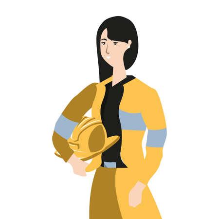 female firefighter worker avatar character vector illustration design Иллюстрация