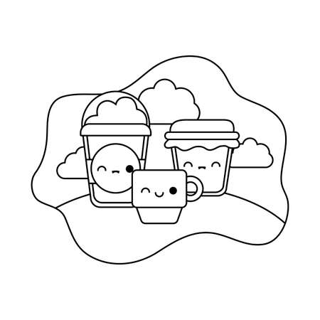 cup with set food in landscape kawaii style vector illustration design