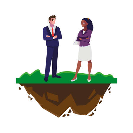 interracial business couple on the lawn vector illustration design