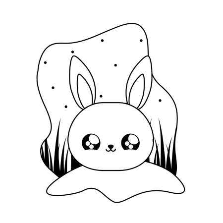 cute head of rabbit baby animal kawaii vector illustration design