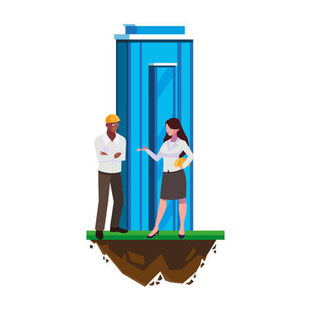 afro male builder with female engineer with building vector illustration design