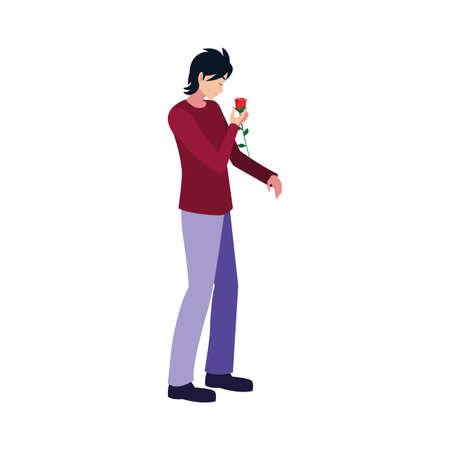 romantic man holding cute flower vector illustration