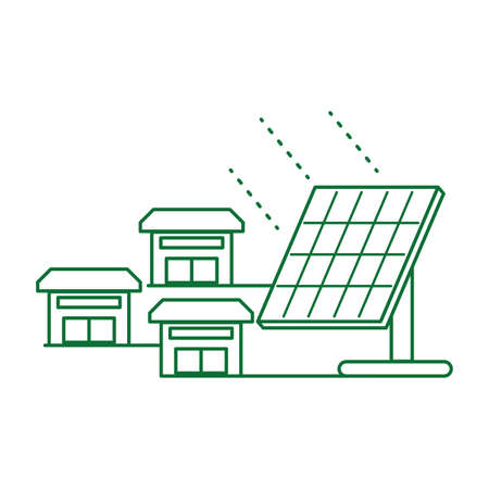 houses facades with solar panel energy vector illustration design