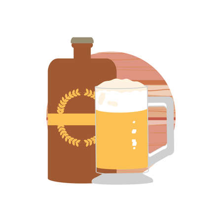 bottle and glass beer oktoberfest festival vector illustration design Ilustrace