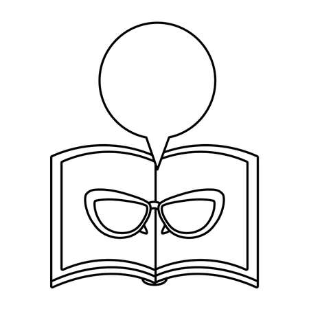 textbook open with eyeglasses and speech bubble vector illustration design 向量圖像