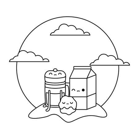 milk in box with set food in landscape kawaii style vector illustration design