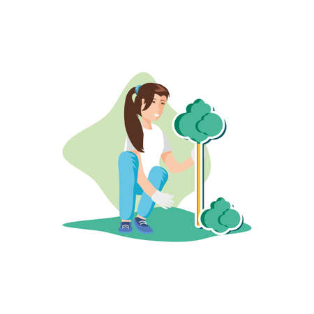 Woman avatar planting tree design, Sustainability eco friendly green recycle ecology renewable and solution theme Vector illustration Banco de Imagens - 140540421