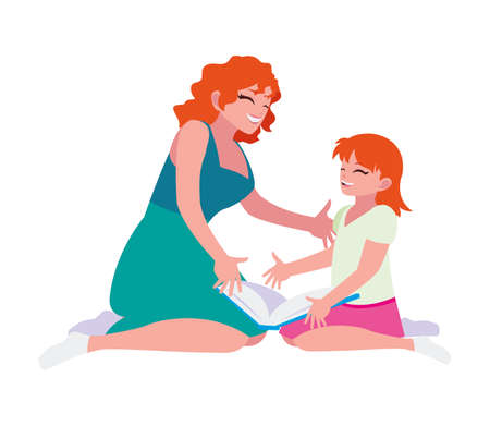 mom and daughter reading book vector illustration design