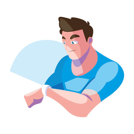 Man with smartwatch design, Augmented reality virtual technology device and modern theme Vector illustration Vettoriali