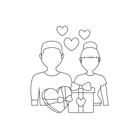 young couple lovers with hearts and icons vector illustration design