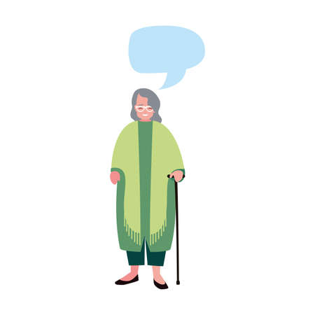 old woman with walking stick talk bubble vector illustration 일러스트