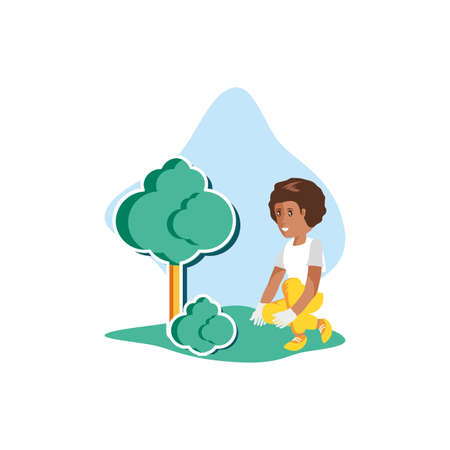 Woman avatar planting tree design, Sustainability eco friendly green recycle ecology renewable and solution theme Vector illustration Stock Illustratie