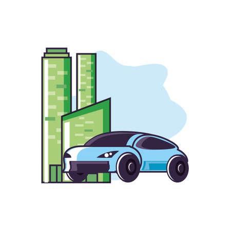 car sedan transportation with buildings facade vector illustration design