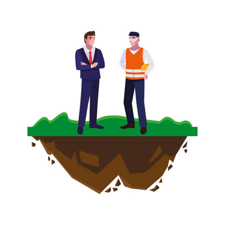 builder constructor with engineer on the lawn vector illustration design Vetores