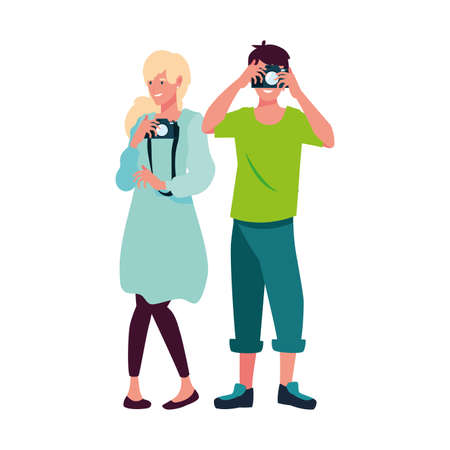 woman and man with camera design, Device gadget technology photography equipment digital and photo theme Vector illustration 向量圖像