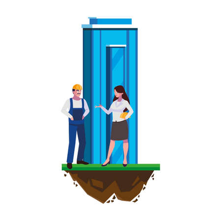 male builder constructor with woman engineer and building vector illustration Ilustracja