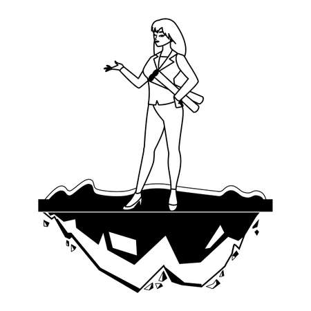 female engineer worker character on the lawn vector illustration design