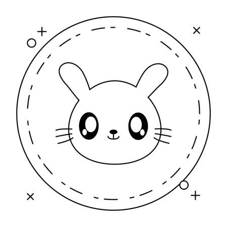 head of cute little rabbit baby in frame circular vector illustration design Ilustrace