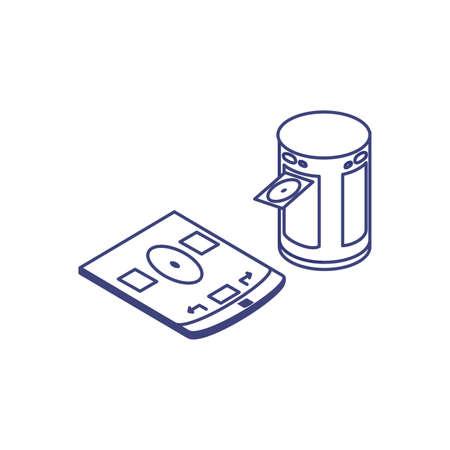 data center disk reader with tablet designer vector illustration design