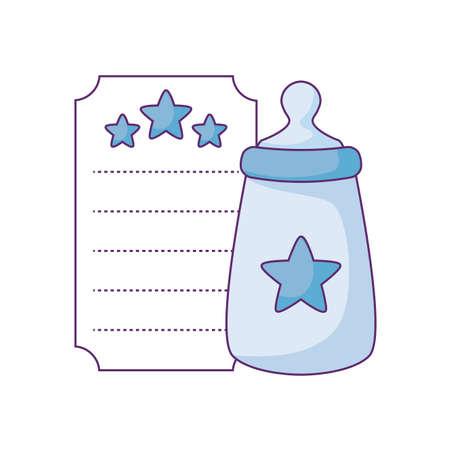 bottle milk in card with stars decoration vector illustration design Illustration