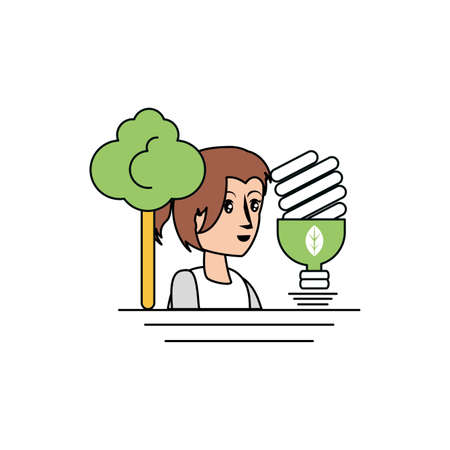 Avatar woman design, Sustainability eco friendly green recycle ecology renewable and solution theme Vector illustration