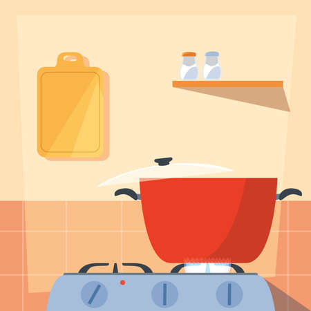 cooking with pot of kitchen in stove vector illustration design 向量圖像