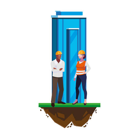 interracial couple builders with building characters vector illustration design
