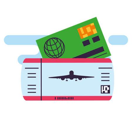 ticket flight document with credit card vector illustration design Çizim