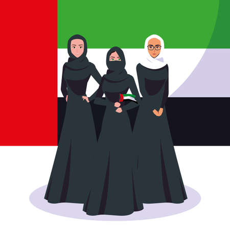emirati women day poster with group of females vector illustration design 일러스트