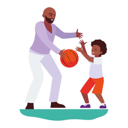 afro father playing basket ball with son characters vector illustration design