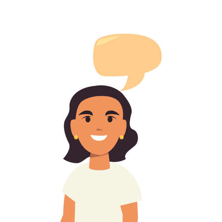 young woman portrait talk bubble on white background vector illustration