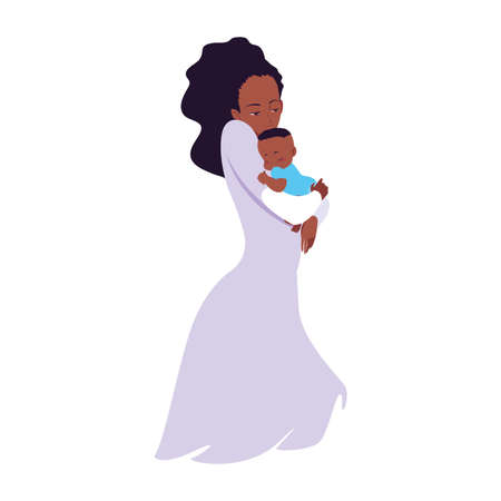 mom carrying his baby in his arms vector illustration Stock Illustratie