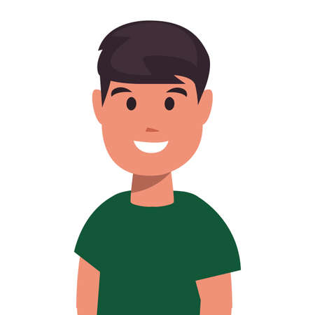 young man portrait on white background vector illustration
