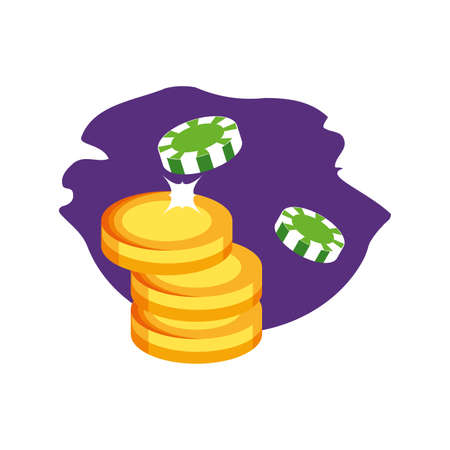 casino games chips with coin vector illustration design