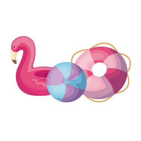 floats with plastic balloon isolated icon vector illustration design Çizim