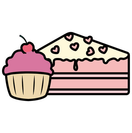 piece of cake and cupcake over white background, vector illustration Иллюстрация