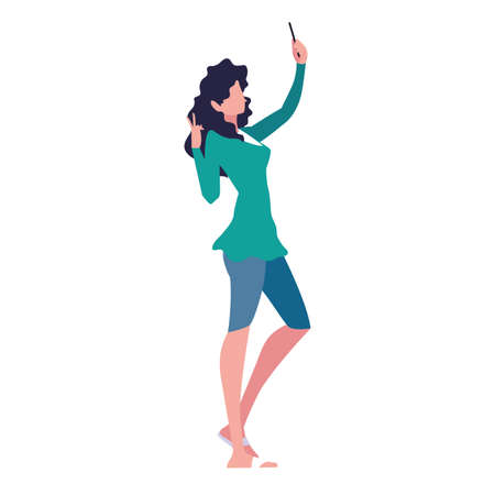 young woman using smartphone social media vector illustration