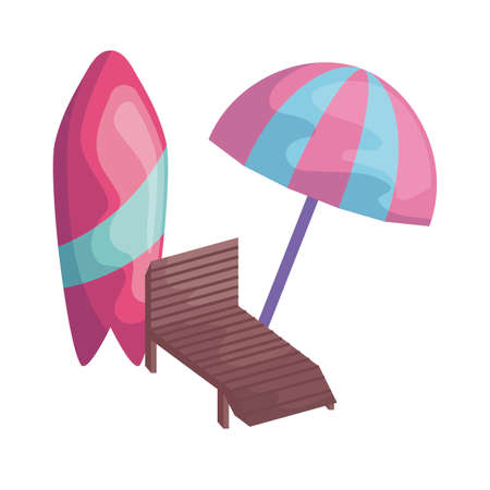 surfboard with chair beach and umbrella vector illustration design