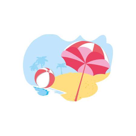 ball plastic toy in the beach with umbrella vector illustration design Çizim