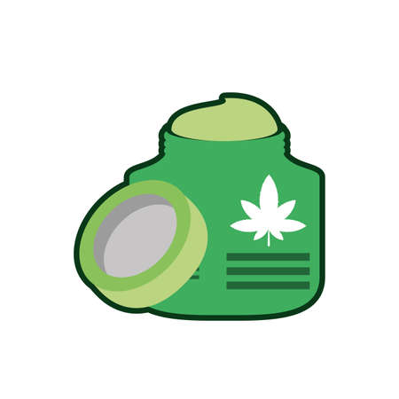 cannabis bottle product with pomade vector illustration design
